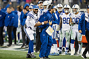 NASHVILLE, TN - DECEMBER 30:  Jacoby Brissett #7 celebrates a touchdown with a assistant coach of the Indianapolis Colts during a game against the Tennessee Titans at Nissan Stadium on December 30, 2018 in Nashville, Tennessee.  The Colts defeated the Titans 33-17.   (Photo by Wesley Hitt/Getty Images) *** Local Caption *** Jacoby Brissett