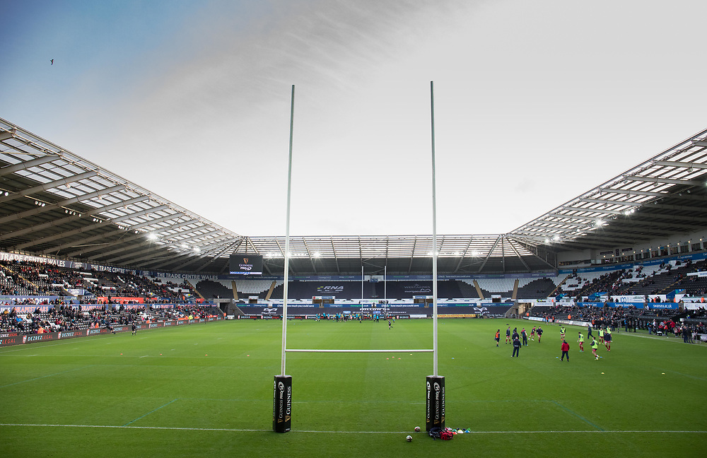 A general view of Liberty Stadium, home of Ospreys<br /> <br /> Photographer Simon King/Replay Images<br /> <br /> Guinness PRO14 Round 11 - Ospreys v Scarlets - Saturday 22nd December 2018 - Liberty Stadium - Swansea<br /> <br /> World Copyright © Replay Images . All rights reserved. info@replayimages.co.uk - http://replayimages.co.uk