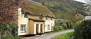 Quaint traditional thatched cottage in Bossington in Exmoor, Somerset, United Kingdom