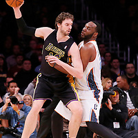 31 January 2014: Los Angeles Lakers center Pau Gasol (16) posts up Charlotte Bobcats center Al Jefferson (25) during the Charlotte Bobcats 110-100 victory over the Los Angeles Lakers at the Staples Center, Los Angeles, California, USA.