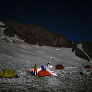 Climbers prepare for an early morning departure from Camp Muir on Mount Rainier on June 30, 2015. The iconic Pacific Northwest volcano is a popular challenge for mountaineers.  (Joshua Trujillo, seattlepi.com)