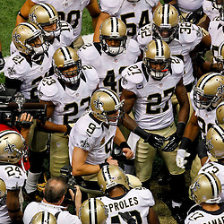 September 23, 2012; New Orleans, LA, USA; New Orleans Saints quarterback Drew Brees (9) huddles with the team prior to kickoff of a game against the Kansas City Chiefs at the Mercedes-Benz Superdome. Mandatory Credit: Derick E. Hingle-US PRESSWIRE