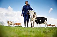 Koudekerk aan den Rijn, 14 september 2017 -  Melkveehouder Johan Koot  over een actie van Milieudefensie voor &ldquo;eerlijke melk&rdquo;, dwz melk waarvoor de boer een winstgevende prijs beurt en waarbij het voor hem mogelijk is om duurzaam te produceren.<br /> Foto: Phil Nijhuis