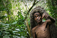 Kahopi, an elder of an Mbuti pygmy tribe in the Okapi Wildlife Reserve of the Ituri Rainforest, leads a hunting expedition. A long string of net, carried on his head, will be draped from the trees to catch duikers.