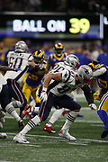 New England Patriots tight end Rob Gronkowski (87) in action during the NFL Super Bowl 53 football game against the Los Angeles Rams on Sunday, Feb. 3, 2019, in Atlanta. The Patriots defeated the Rams 13-3. (©Paul Anthony Spinelli)