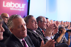 Peter Hain AND John Prescott in the audience during Ed Miliband's keynote speech to the Labour Party Conference in Manchester, October 2, 2012. Photo by Elliott Franks / i-Images.