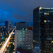 Reforma Avenue at night. Mexico city.