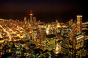 Image of downtown Chicago, Illinois at night from Willis Tower, American Midwest