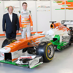 Paul Di Resta & Bob Fernley standing aside this years VJM06 Sahara Force India F1 car. Unveiled at Silverstone Circuit, Northamptonshire, England on the 1st February 2013.  WAYNE NEAL | STOCKPIX.EU