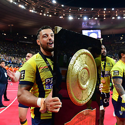 Captain Damien Chouly of Clermont with the Bouclier de Brennus trophy after his side win the the Top 14 Final between RC Toulon and Clermont Auvergne  at Stade de France on June 4, 2017 in Paris, France. (Photo by Dave Winter/Icon Sport)
