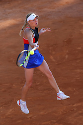 May 18, 2018 - Rome, Rome, Italy - 18th May 2018, Foro Italico, Rome, Italy; Italian Open Tennis; Caroline Wozniacki (DEN) in action during her quarter-final lost 6-1, 6-1 against Anett Kontaveit (EST). Credit: Giampiero Sposito/Pacific Press  (Credit Image: © Giampiero Sposito/Pacific Press via ZUMA Wire)