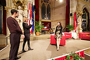 Vienna, Austria. Cocktail reception hosted by Mayor Michael Häupl at City Hall for international scientists and researchers living and working in Vienna.<br /> Guests making souvenir photos.
