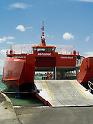 The Sealink ferry Seacat prepares to load vehicles at the Half Moon Bay Marina, near Aucklnad, New Zealand.