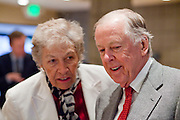 11 DECEMBER 2008 -- Pat Jackson (CQ) an independent entrepreneur and high school friend of T. Boone Pickens, talks to Pickens before breakfast at the Biltmore Thursday.  Oil magnate and proponent of wind energy T. Boone Pickens spoke at the Biltmore during the Chamber breakfast Thursday. PHOTO BY JACK KURTZ