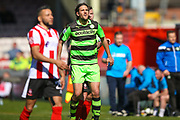 Forest Green Rovers midfielder Darren Carter (12) waits for the throw in during the Vanarama National League match between Lincoln City and Forest Green Rovers at Sincil Bank, Lincoln, United Kingdom on 25 March 2017. Photo by Simon Davies.