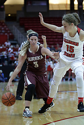 01 November 2017: Kennedy Dura guarded by Frannie Corrigan during a Exhibition College Women's Basketball game between Illinois State University Redbirds the Red Devils of Eureka College at Redbird Arena in Normal Illinois.