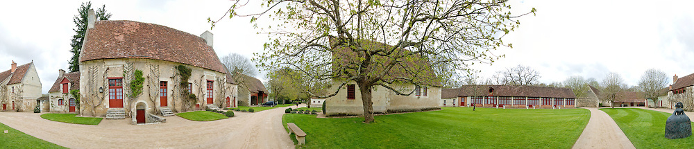 Panoramic shot of farm cottages at Chenonceau Chateau in the Loire Valley, France