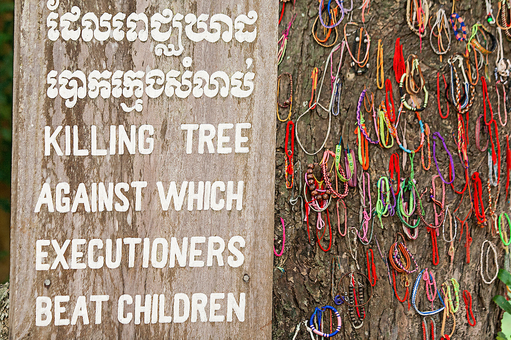Memorial bracelets at the Killing Fields, Cambodia