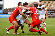 Bradford Bulls second row James Bentley (20) is stopped  during the Kingstone Press Championship match between Sheffield Eagles and Bradford Bulls at, The Beaumont Legal Stadium, Wakefield, United Kingdom on 3 September 2017. Photo by Simon Davies.