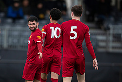 LIVERPOOL, ENGLAND - Monday, February 24, 2020: Liverpool's Joe Hardy (L) celebrates scoring the third goal during the Premier League Cup Group F match between Liverpool FC Under-23's and AFC Sunderland Under-23's at the Liverpool Academy. (Pic by David Rawcliffe/Propaganda)