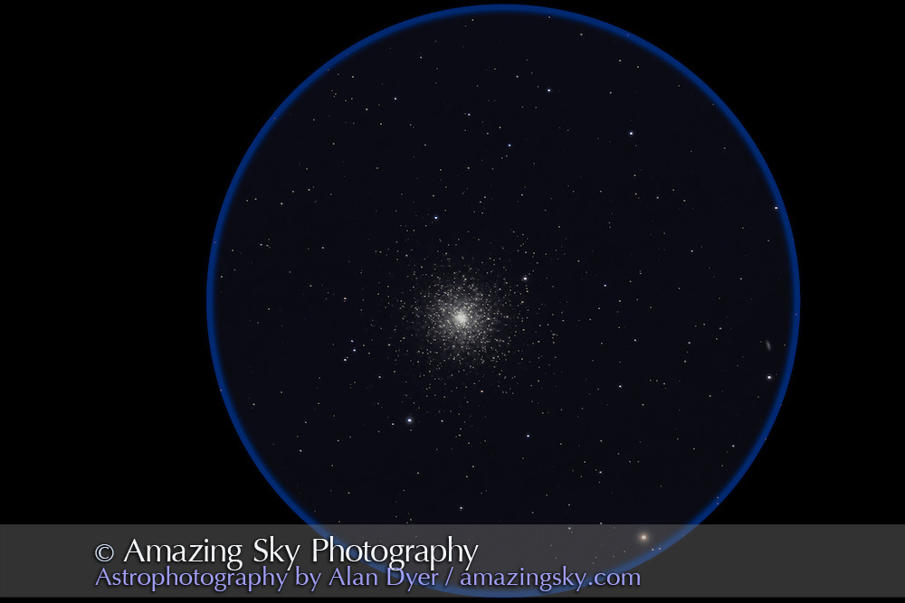 M3 globular cluster in Canes Venatici. Taken from home June 15, 2012 with the 130mm Astro-Physics apo refractor at f/6 and the 6x7 field flattener, for a stack of 5 x 6 minute exposures at ISO 800 with the Canon 60Da camera. Galaxy to the right is NGC 5263 at 13th magnitude.