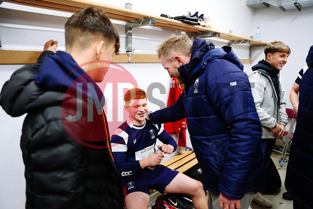 Sean Marsden congratulates Harry Rowson of Bristol Bears U18 after Bears U18 win 18-17 - Rogan/JMP - 14/12/2019 - RUGBY UNION - Shaftesbury Park - Bristol, England - Bristol Bears U18 v Bath Rugby U18 - Premiership Rugby U18 Academy League.