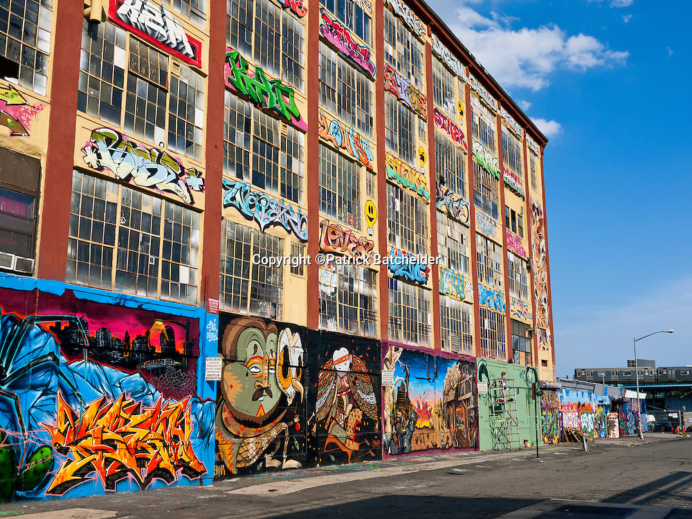"""Graffiti murals adorn the walls of 5 Pointz, the """"Graffiti Museum"""" once located in Quenns, New York,"""
