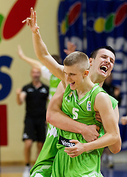 Luka Rupnik of Slovenia and Alen Omic of Slovenia celebrate after winning the basketball match between National teams of Sweden and Slovenia in First Round of U20 Men European Championship Slovenia 2012, on July 13, 2012 in Domzale, Slovenia. Slovenia defeated Sweden 70-69. (Photo by Vid Ponikvar / Sportida.com)