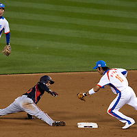 23 March 2009: #23 Norichika Aoki of Japan is caught stealing second base by #16 Ki Hyuk Park of Korea to end the fifth inning during the 2009 World Baseball Classic final game at Dodger Stadium in Los Angeles, California, USA. Japan defeated Korea 5-3