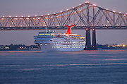 Louisiana, New Orleans, Twin Cantilever Bridges, The Crescent City Connection, Mississippi River, Cruise Ship Departing Port Of New Orleans
