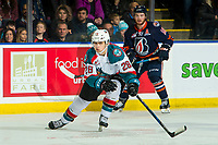 KELOWNA, CANADA - DECEMBER 29: Leif Mattson #28 of the Kelowna Rockets tries to block a pass during first period against the Kamloops Blazers  on December 29, 2018 at Prospera Place in Kelowna, British Columbia, Canada.  (Photo by Marissa Baecker/Shoot the Breeze)