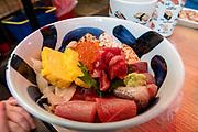 Breakfast at Tsukiji Kagura Sushi, in the Tsukiji Outer Market, Tokyo, Japan. In Central Tokyo southeast of Ginza.