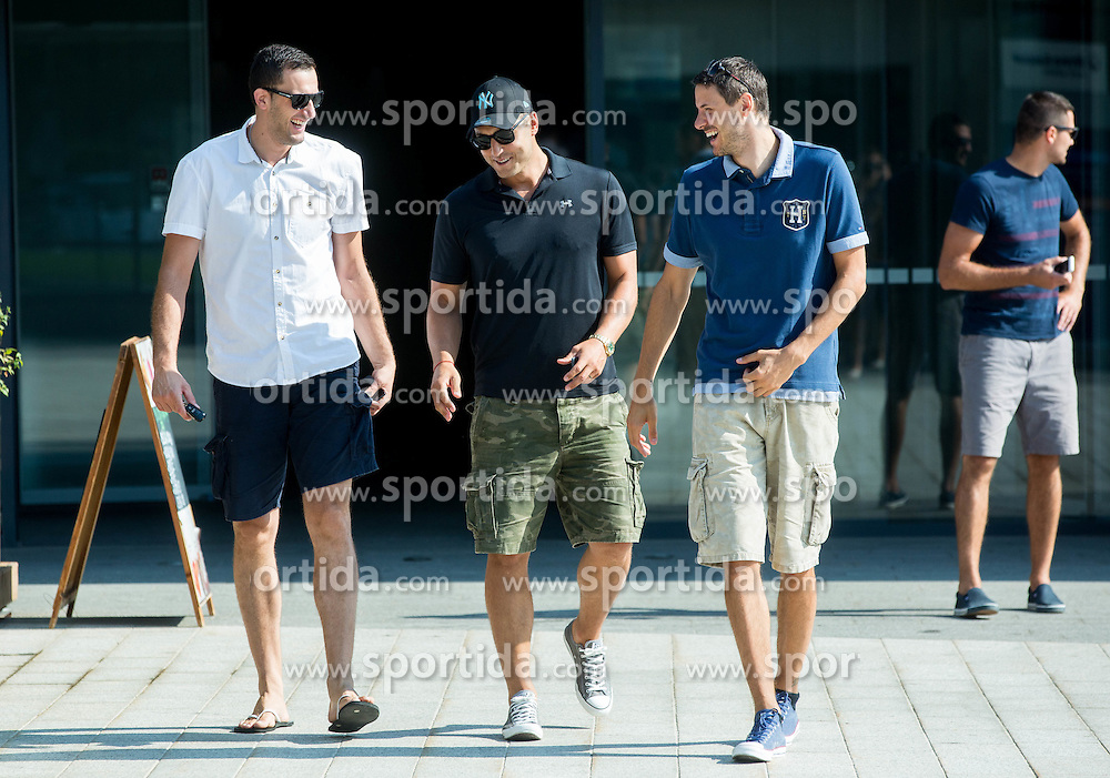 Smiljan Pavic, Marko Milic and Bostjan Nachbar during press conference after Sani Becirovic, Slovenian Basketball player ended his a long and successful career and started as Coach Assistant in Panathinaikos, on July 22, 2015 in Ljubljana, Slovenia. Photo by Vid Ponikvar / Sportida