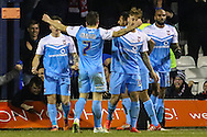 Josh Carson of York City (left) celebrates scoring the opening goal against Luton Town during the Sky Bet League 2 match at Kenilworth Road, Luton<br /> Picture by David Horn/Focus Images Ltd +44 7545 970036<br /> 10/02/2015