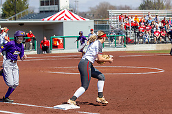 NORMAL, IL - April 06: Allison Spence tags 1st base to retire the hitter during a college women's softball game between the ISU Redbirds and the University of Northern Iowa Panthers on April 06 2019 at Marian Kneer Field in Normal, IL. (Photo by Alan Look)