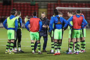 Forest Green Rovers manager, Mark Cooper talks to the players during the warm up during the EFL Sky Bet League 2 match between Crewe Alexandra and Forest Green Rovers at Alexandra Stadium, Crewe, England on 20 March 2018. Picture by Shane Healey.