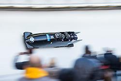 21.02.2016, Olympiaeisbahn Igls, Innsbruck, AUT, FIBT WM, Bob und Skeleton, Herren, Viererbob, 3. Lauf, im Bild Lukas Kolb, Markus Glueck, Markus Treichl, Adrian Platzgummer (AUT) // Lukas Kolb Markus Glueck Markus Treichl Adrian Platzgummer of Austria compete during Four-Man Bobsleigh 3rd run of FIBT Bobsleigh and Skeleton World Championships at the Olympiaeisbahn Igls in Innsbruck, Austria on 2016/02/21. EXPA Pictures © 2016, PhotoCredit: EXPA/ Johann Groder
