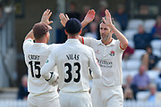 Wicket - Graham Onions of Lancashire celebrates taking the wicket of Steve Davies of Somerset during the Specsavers County Champ Div 1 match between Somerset County Cricket Club and Lancashire County Cricket Club at the Cooper Associates County Ground, Taunton, United Kingdom on 5 September 2018.