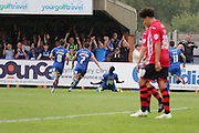 Azeez scores to put AFC Wimbledon back in the lead, during the Sky Bet League 2 match between AFC Wimbledon and Exeter City at the Cherry Red Records Stadium, Kingston, England on 29 August 2015. Photo by Stuart Butcher.
