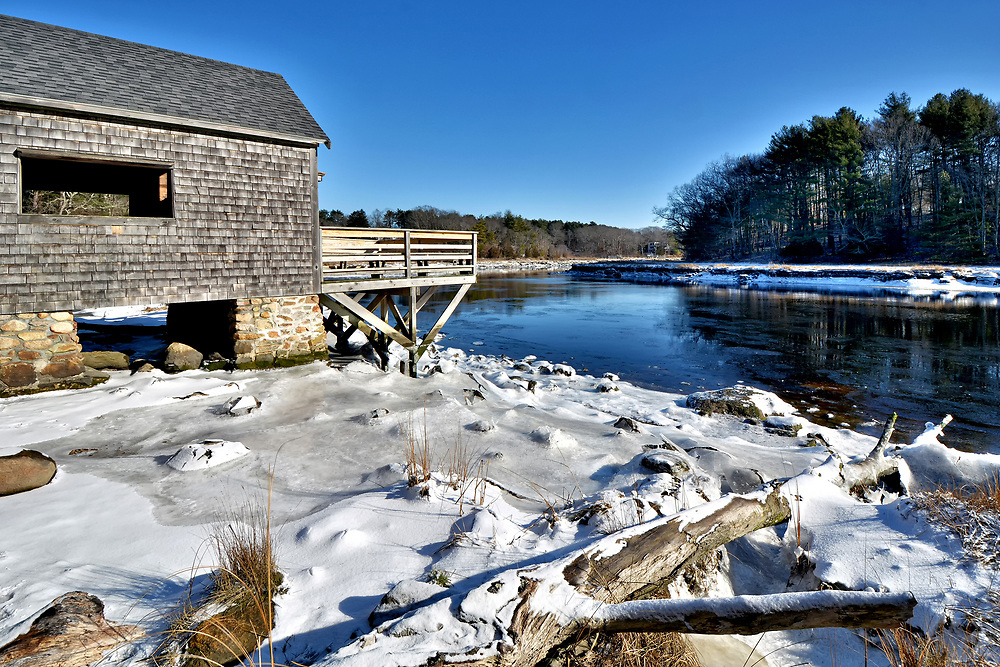 The boat house and the North River as viewed from the Norris Reservation in Norwell, Massachusetts.
