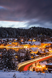 """Downtown Truckee 22"" - Photograph of historic Downtown Truckee, California, shot at dusk."