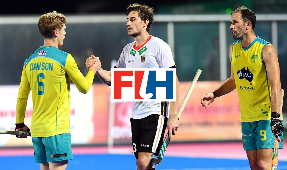 Odisha Men's Hockey World League Final Bhubaneswar 2017<br /> Match id:20<br /> Australia v Germany<br /> Foto: Australia wins the Semi Final against Germany. Dawson (Aus),Florian Fuchs (Ger) amd Mark Knowles (Aus) <br /> COPYRIGHT WORLDSPORTPICS FRANK UIJLENBROEK