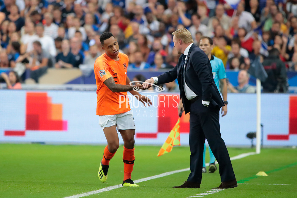 Kenny Tete (NDL) scored a goal and celebrated it with Ronald Koeman(NDL) during the UEFA Nations League, League A, Group 1 football match between France and Netherlands on September 9, 2018 at Stade de France stadium in Saint-Denis near Paris, France - Photo Stephane Allaman / ProSportsImages / DPPI
