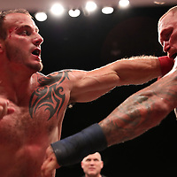 TAMPA, FL - JUNE 22: Chris Leben (R) and Dakota Cochrane exchange blows during the Bare Knuckle Fighting Championships at Florida State Fairgrounds Entertainment Hall on June 22, 2019 in Tampa, Florida. (Photo by Alex Menendez/Getty Images) *** Local Caption *** Chris Leben; Dakota Cochrane