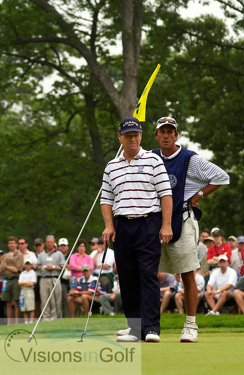 June 2003, US Open, Olympia Fields CC, Chicago. Bruce Edwards and Tom Watson on the 14th green.<br />
