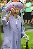 ***World Rights***.Queen Mum visits memorial gardens on the Isle of Dogs in London.
