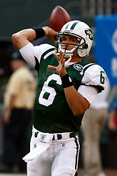 Aug 14, 2009; East Rutherford, NJ, USA;   New York Jets quarterback Mark Sanchez (6) warms up before his game against the St. Louis Rams at Giants Stadium.