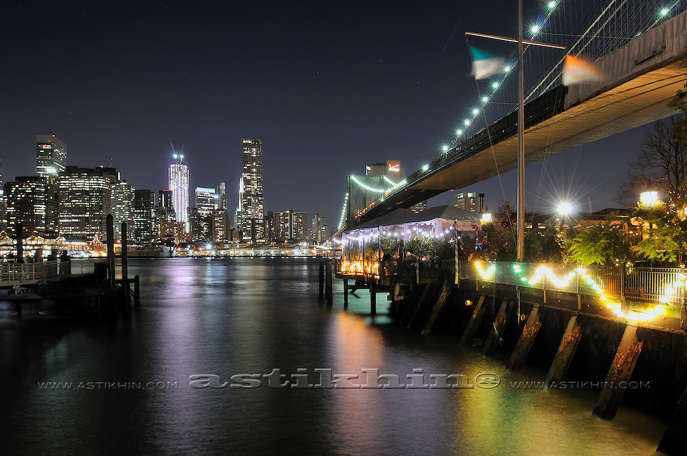 The River Cafe on East River under Brooklyn Bridge.