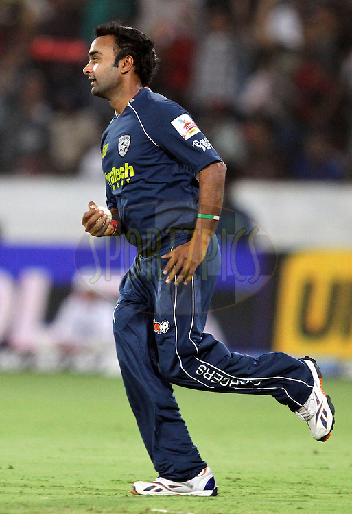 Amit Mishra took a catch of Mayank Agrawal of RCB  during match 11 of the Indian Premier League ( IPL ) between the Deccan Chargers and the Royal Challengers Bangalore held at the Rajiv Gandhi International Cricket Stadium in Hyderabad on the 14th April 2011..Photo by Prashant Bhoot/BCCI/SPORTZPICS.