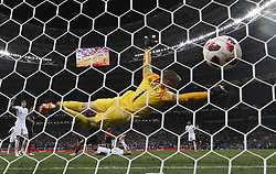 MOSCOW, July 11, 2018  Goalkeeper Jordan Pickford of England fails to save the ball shot by Croatia's Ivan Perisic during the 2018 FIFA World Cup semi-final match between England and Croatia in Moscow, Russia, July 11, 2018. Croatia won 2-1 and advanced to the final. (Credit Image: © Cao Can/Xinhua via ZUMA Wire)